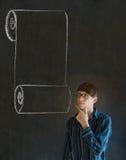 Hombre, estudiante o profesor con la lista de control de la voluta del menú Fotografía de archivo