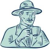 Hombre Fedora Hat Drinking Coffee Etching Imagen de archivo