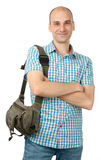 Hombre feliz con el bolso imagen de archivo