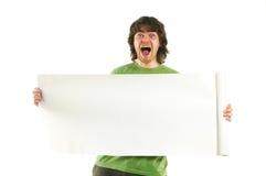 Hombre feliz con el cartel blanco Imagen de archivo