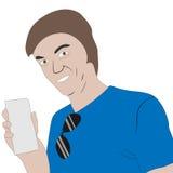 Hombre feliz con el espacio en blanco del boleto o del papel Fotos de archivo