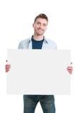 Hombre feliz con la muestra del cartel Imágenes de archivo libres de regalías