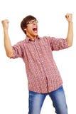 Hombre feliz con las manos para arriba Imagen de archivo