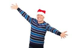Hombre feliz con los brazos abiertos del sombrero de Santa Foto de archivo libre de regalías