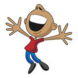 Hombre feliz de la historieta que salta para la alegría foto de archivo