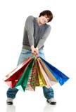 Hombre feliz de las compras Imágenes de archivo libres de regalías