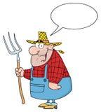 Hombre feliz del granjero que lleva un rastrillo stock de ilustración