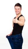 Hombre feliz después de peso perdidoso Imagen de archivo