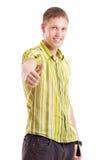Hombre feliz en camisa verde Imágenes de archivo libres de regalías