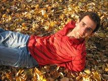 Hombre feliz en las hojas Imagen de archivo libre de regalías