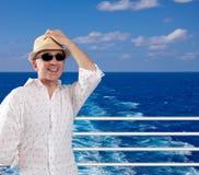 Hombre feliz en una travesía Imagen de archivo libre de regalías