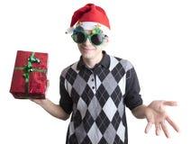 Hombre feliz en vidrios de la fiesta de Navidad Imágenes de archivo libres de regalías