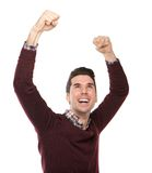 Hombre feliz que anima con los brazos aumentados Fotos de archivo libres de regalías