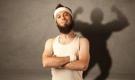 Hombre flaco con la sombra musculous Foto de archivo libre de regalías