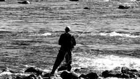 Hombre Fly-Fishing Fotografía de archivo
