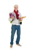 Hombre francés con pan y vino Imagen de archivo libre de regalías