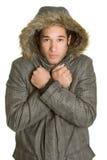 Hombre frío del invierno Imagenes de archivo