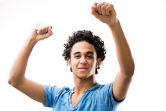 Hombre fuerte alegre que exulta porque él ganó Fotos de archivo