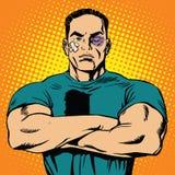 Hombre fuerte después de una lucha ilustración del vector