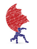 Hombre fuerte, super héroe que aterriza la acción potente libre illustration