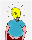 Hombre gordo con buena idea Imagen de archivo libre de regalías