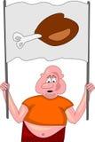 Hombre gordo con el muslo grande del pollo Imágenes de archivo libres de regalías