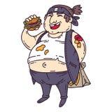 Hombre gordo con la hamburguesa Carácter obeso Ilustración de la historieta Objetos aislados en el fondo blanco libre illustration