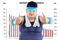 Hombre gordo con un programa del pérdida-peso Fotos de archivo