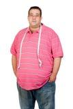 Hombre gordo con una cinta métrica Imagen de archivo