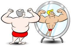 Hombre gordo del músculo stock de ilustración