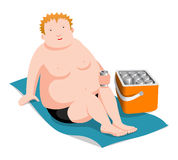 Hombre gordo en la playa Imagenes de archivo