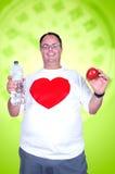 Hombre gordo en una dieta Imagen de archivo