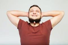 Hombre gordo feliz con los clips de la barba Imagenes de archivo