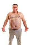 Hombre gordo feliz con una cinta métrica alrededor de su cuello Imagen de archivo