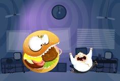 Hombre gordo perseguidor por Burger Monster Foto de archivo