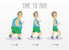 Hombre gordo que corre para adelgazar forma Ejemplo del concepto del vector del deporte y de la aptitud libre illustration
