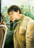 Hombre gordo que duerme en el autobús stock de ilustración