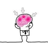 Hombre grande y dolor de cabeza del cerebro stock de ilustración