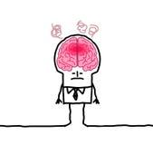 Hombre grande y fiebre del cerebro Imagenes de archivo