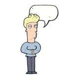 hombre hastiado de la historieta con la burbuja del discurso Imagen de archivo libre de regalías
