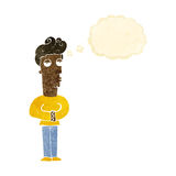 hombre hastiado de la historieta con la burbuja del pensamiento Foto de archivo libre de regalías