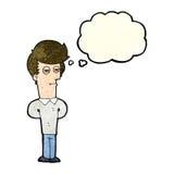 hombre hastiado de la historieta con la burbuja del pensamiento Imagenes de archivo