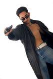 Hombre hermoso con el arma Imágenes de archivo libres de regalías