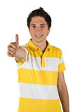 Hombre hermoso con el pulgar para arriba Imagen de archivo libre de regalías