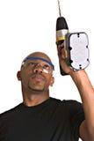 Hombre hermoso con el taladro de potencia Fotografía de archivo