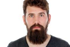 Hombre hermoso con la barba larga Foto de archivo