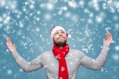 Hombre hermoso con la barba que lleva un sombrero de la Navidad Imagen de archivo
