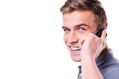 Hombre hermoso en el teléfono Fotos de archivo
