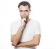 Hombre hermoso en la camisa blanca Foto de archivo libre de regalías