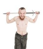 Hombre hermoso joven con el griterío de la espada aislado Imágenes de archivo libres de regalías